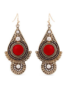 Red Camel Gold-Tone Red Drop Earrings
