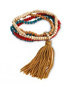 Red Camel Gold-Tone Multi Strand Tassel Bracelet