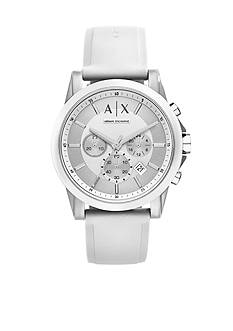 Armani Exchange AX Men's Active White Silicone Strap Chronograph Watch