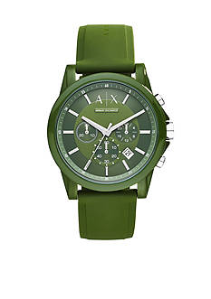 Armani Exchange AX Men's Active Green Silicone Strap Chronograph Watch