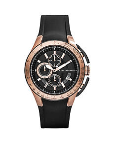 Armani Exchange AX Men's Black Silicone and Rose Gold Stainless Steel Watch