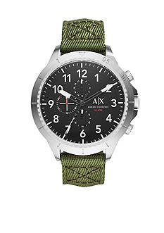 Armani Exchange AX Men's Street Green Nylon Strap Chronograph Watch