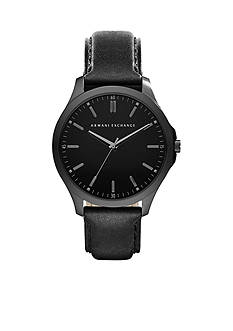 Armani Exchange AX Men's Black IP Leather Three-Hand Watch