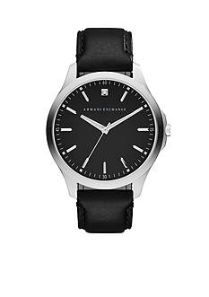 Armani Exchange AX Men's Hampton Three-Hand Black Leather Strap Watch