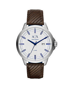 Armani Exchange AX Men's Three Hand Brown Leather Watch