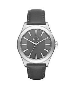 Armani Exchange AX Men's Three-Hand Black Leather Watch