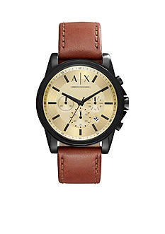 Armani Exchange AX Men's Stainless Steel Chronograph Dark Brown Leather Watch