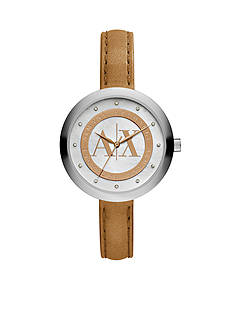 Armani Exchange AX Women's Tan Leather Strap 3 Hand Glitz Watch