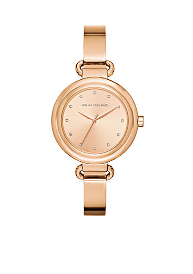 Armani Exchange AX Women's Rose-Gold Tone Three-Hand Watch