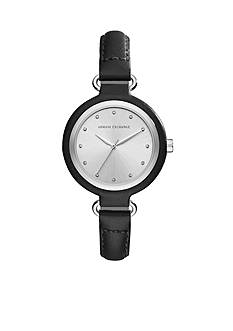 Armani Exchange AX Women's Three-Hand Black Leather Watch