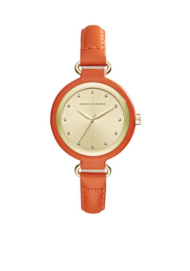 Armani Exchange AX Women's Three-Hand Orange Leather Watch