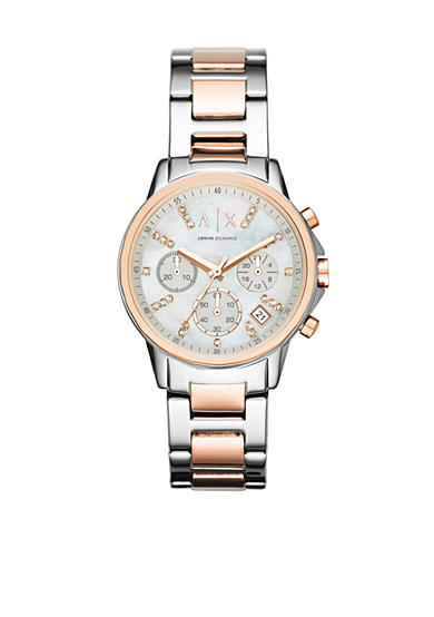 Armani Exchange AX Women's Rose Gold-Tone and Stainless Steel Two-Tone Chronograph Glitz Watch