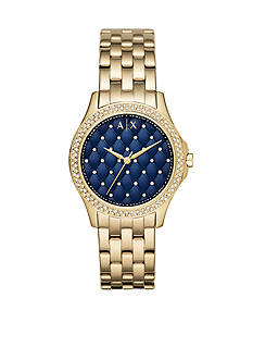 Armani Exchange AX Women's Gold-Tone Stainless Steel Three Hand Glitz Watch