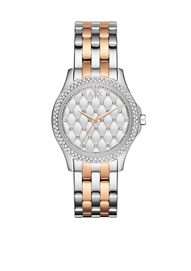 Armani Exchange AX Women's Rose Gold-Tone and Stainless Steel Two-Tone Three Hand Glitz Watch