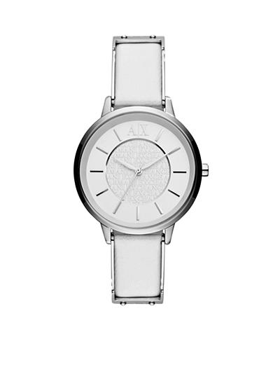 Armani Exchange AX Women's White Leather and Silver-Tone Stainless Steel Three-Hand Watch