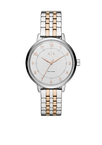 Armani Exchange AX Women's Active Rose Gold-Tone and Stainless Steel Two-Tone 3 Hand Glitz Watch