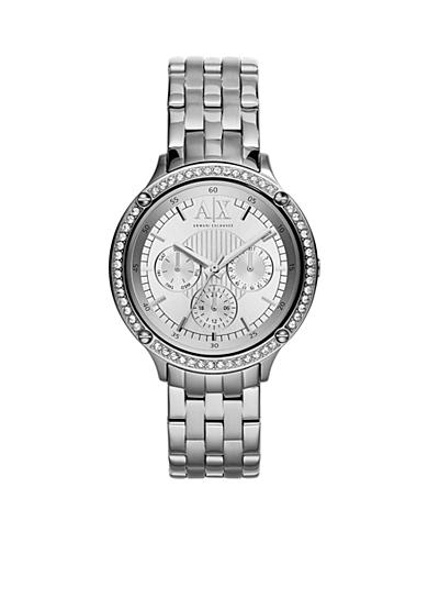 Armani Exchange AX Women's Silver-Tone Stainless Steel Three-Hand Watch