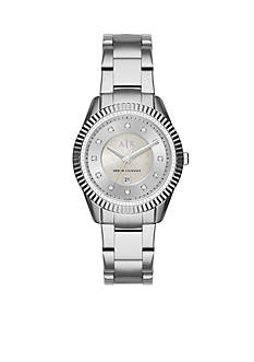 Armani Exchange AX Women's Active Stainless Steel Glitz 3-Hand Watch