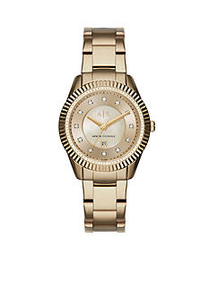 Armani Exchange AX Women's Active Gold-Tone Stainless Steel Glitz Watch