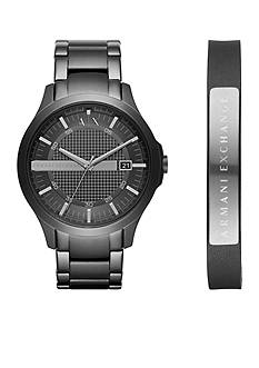Armani Exchange AX Men's Stainless Steel Hampton 3-Hand Date Watch Set