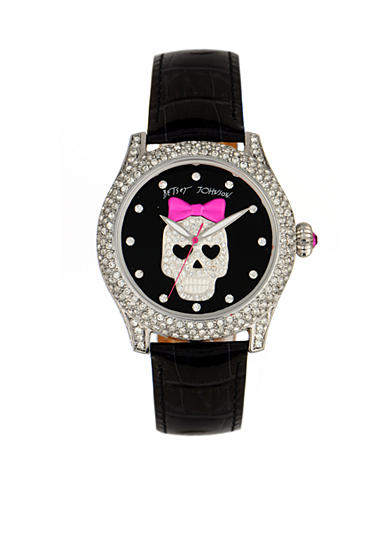 Betsey Johnson Crystal Set Case with Skull Graphic Watch