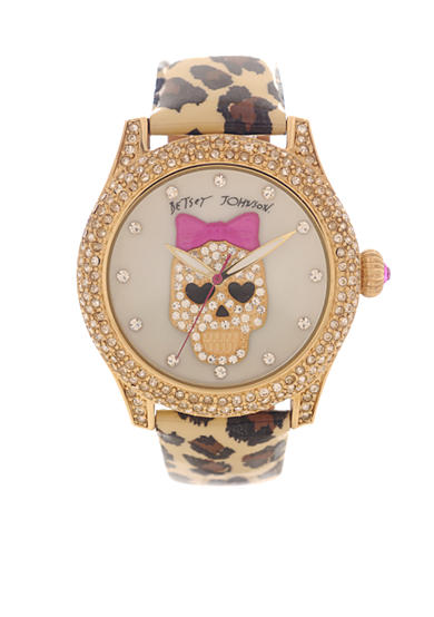 Betsey Johnson Skull and Bow Leopard Watch