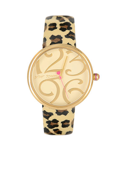 Betsey Johnson Lots N' Lots of Time Leopard Leather Strap Watch