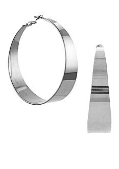 Vince Camuto Silver-Tone Tapered Hoop Earrings