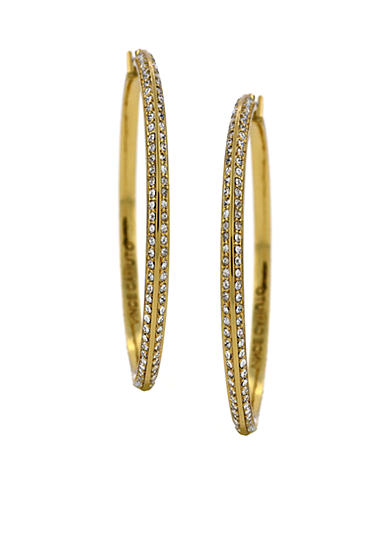Vince Camuto Small Gold-Tone Pave Hoop Earrings