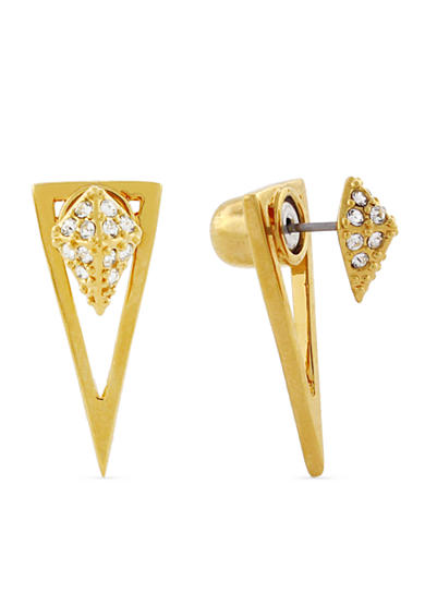 Vince Camuto Gold-Tone Crystal Front and Back Earrings