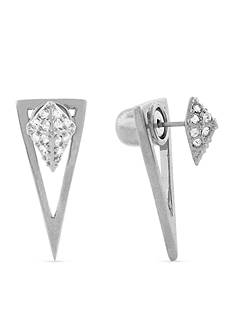 Vince Camuto Silver-Tone Crystal Front-and-Back Earrings