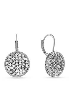 Vince Camuto Silver-Tone Circle Pave Drop Earrings