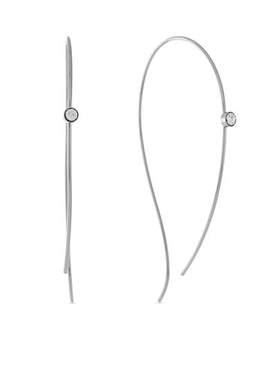 Vince Camuto Languid Looks Silver-Tone Organic Hoop Earrings with Stone