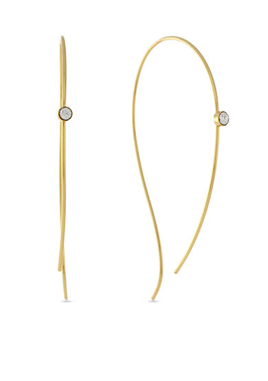 Vince Camuto Languid Looks Gold-Tone Organic Hoop Earrings with Stone