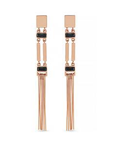 Vince Camuto Burnt Rose-Gold Tone Linear Bar Fringe Earrings