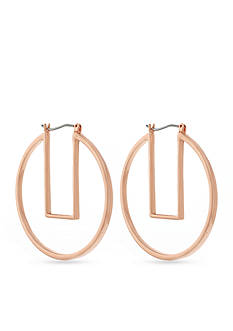 Vince Camuto Rose Gold-Tone Modern Strokes Geo Hoop Earrings