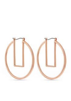 Vince Camuto Rose Gold-Tone Modern Strokes Geo Hoop Earrings