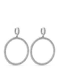 Vince Camuto Silver-Tone Pave Huggie Hoop Earrings