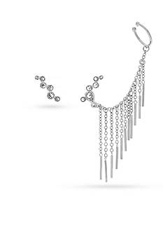 Vince Camuto Silver-Tone Asymmetric Earring and Ear Jacket