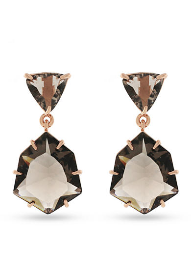 Vince Camuto Rose Gold & Mauve Double Drop Post Earrings