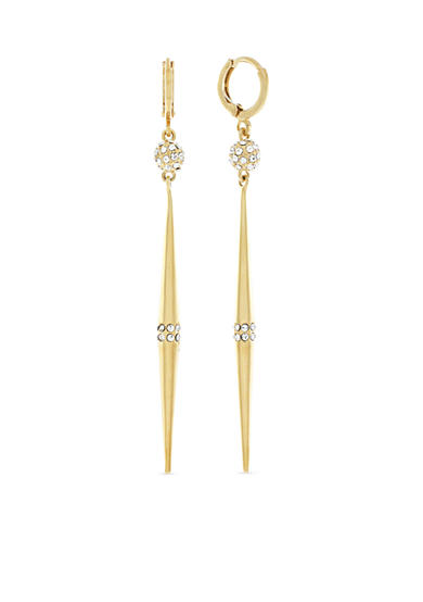 Vince Camuto Gold-Tone Pave Crystal Drop Huggie Earrings