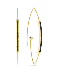 Vince Camuto Gold-Tone Hematite Marquis Hoop Earrings