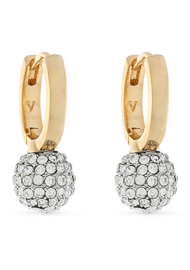 Vince Camuto Gold-Tone Pave Ball Huggie Deop Earrings