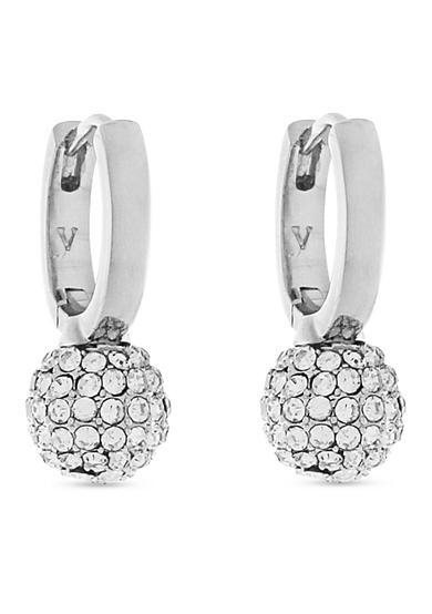 Vince Camuto Silver-Tone Pave Ball Huggie Drop Earrings
