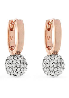 Vince Camuto Burnt Rose-Gold Tone Pave Ball Huggie Drop Earrings