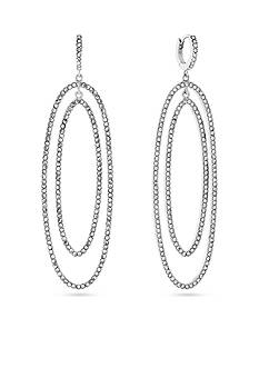 Vince Camuto Double Oval Pave Stone Click Back Huggie Earrings
