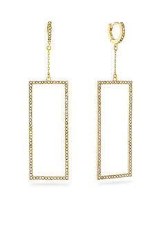 Vince Camuto Gold-Tone Square Pave Click Back Huggie Earrings