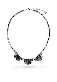 Vince Camuto Silver-Tone Indigo Blues Mosaic Collar Necklace