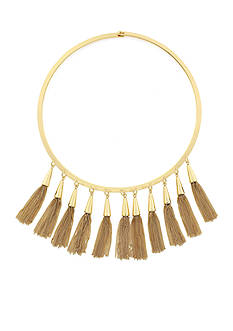Vince Camuto Gold-Tone Chained Tassel Collar Necklace