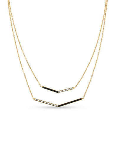 Vince Camuto Gold-Tone and Hematite Double Layered Necklace